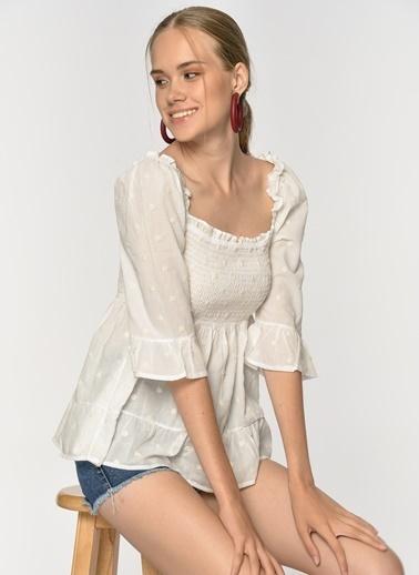 Loves You Göğsü Gipeli %100 Cotton Bluz Beyaz